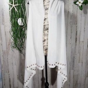 New York & Company White Cascading Cardigan